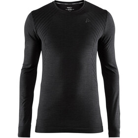 Craft Fuseknit Comfort Camisa manga larga cuello redondo Hombre, negro